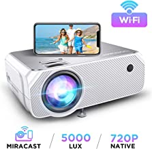 Wi-Fi Mini Projector, Upgraded 5000 Lux, Portable Outdoor Movie Projector, Full HD 1080P Supported, Wireless Screen Mirroring and Miracast, for Android/ iOS / Laptops/ Windows /PCs/ TV Stick- White