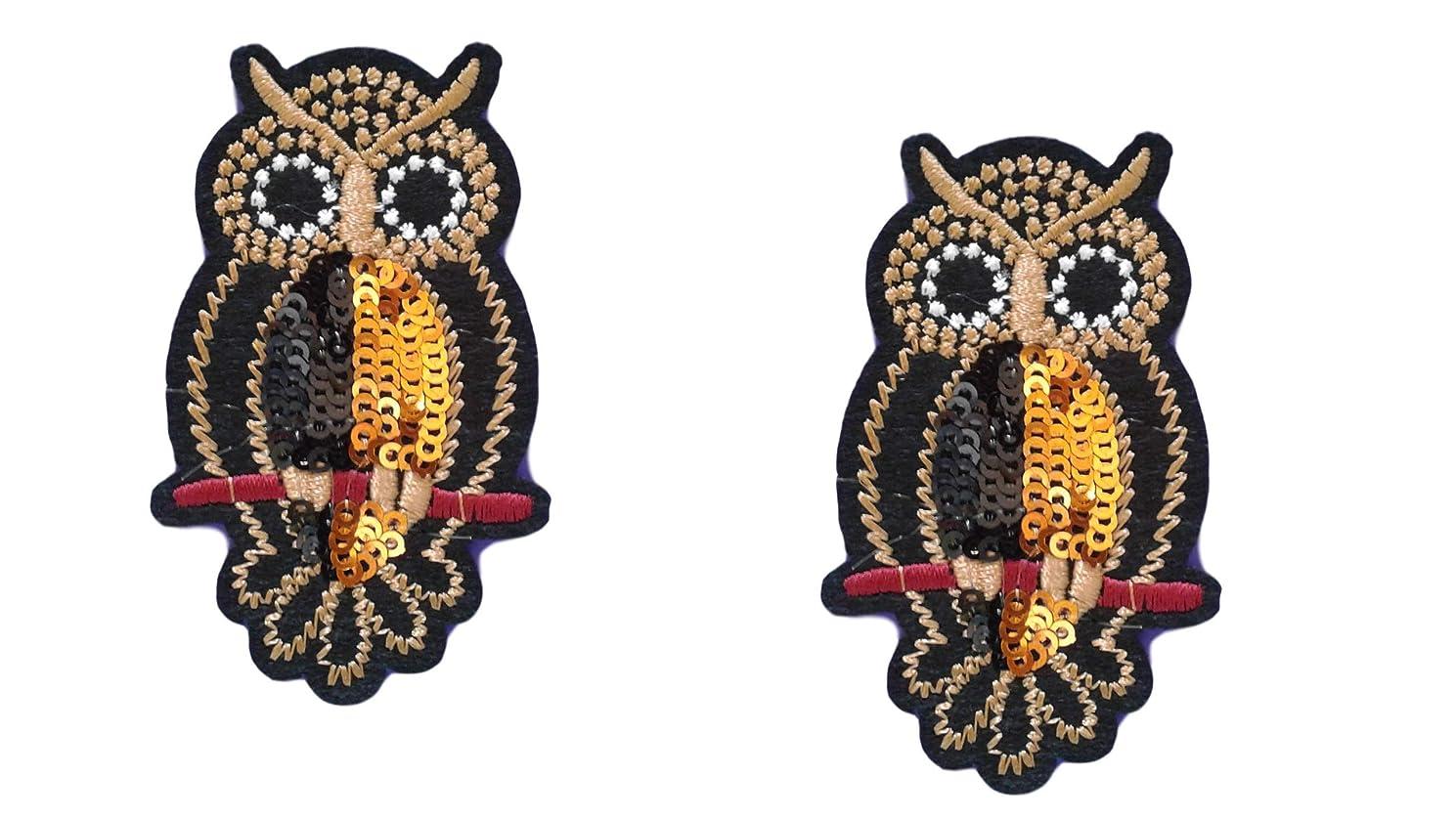 2 Pieces OWL Iron On Patch Fabric Applique Bird Animal Motif Cartoon Decal 2.75 x 1.65 inches (7 x 4.2 cm)