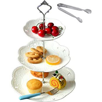 Cupcake Stand- Jusalpha 3-tier White Ceramic Cake Stand Dessert Stand-Cupcake Stand-Tea Party Serving Platter, Comes In a Gift Box- Free Sugar Tong (Silver/White, 1 Set)