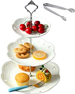 Jusalpha 3-tier White Ceramic Cake Stand Dessert Stand-Cupcake Stand-Tea Party Serving Platter, Comes In a Gift Box- Free Sugar Tong (3RW Silver)