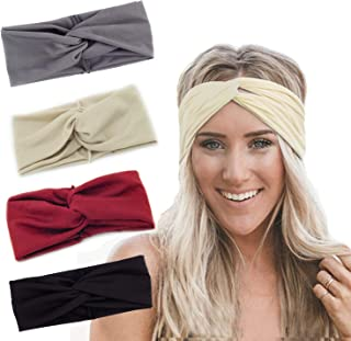 Turban Headbands for Women Twisted Boho Headwrap Yoga Workout Sport Thick Head Bands