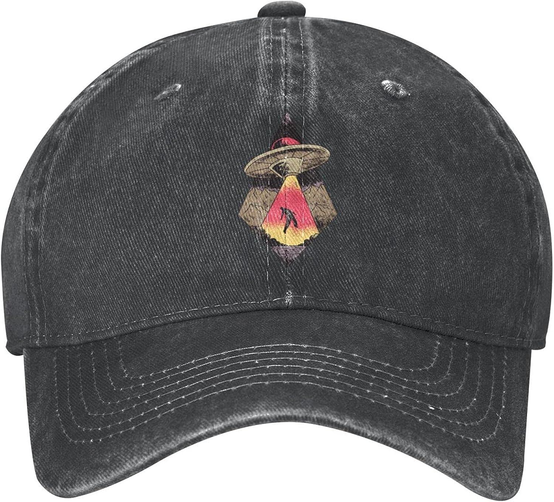 UFO Abduction Vintage Funny Hat Baseball Cap Dad&Mom Caps Trucker Hats Adjustable Unisex Cap Low Profile Comfortable Material Black