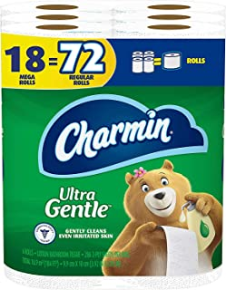 Charmin Ultra Gentle Toilet Paper, 18 Mega Rolls(Equal to 72 Regular Rolls)
