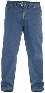 "Duke London Kingsize Big Mens Stretch Jeans, Relaxed Comfort Fit, Elasticated Waist, Blue Stonewash (42-60"")"