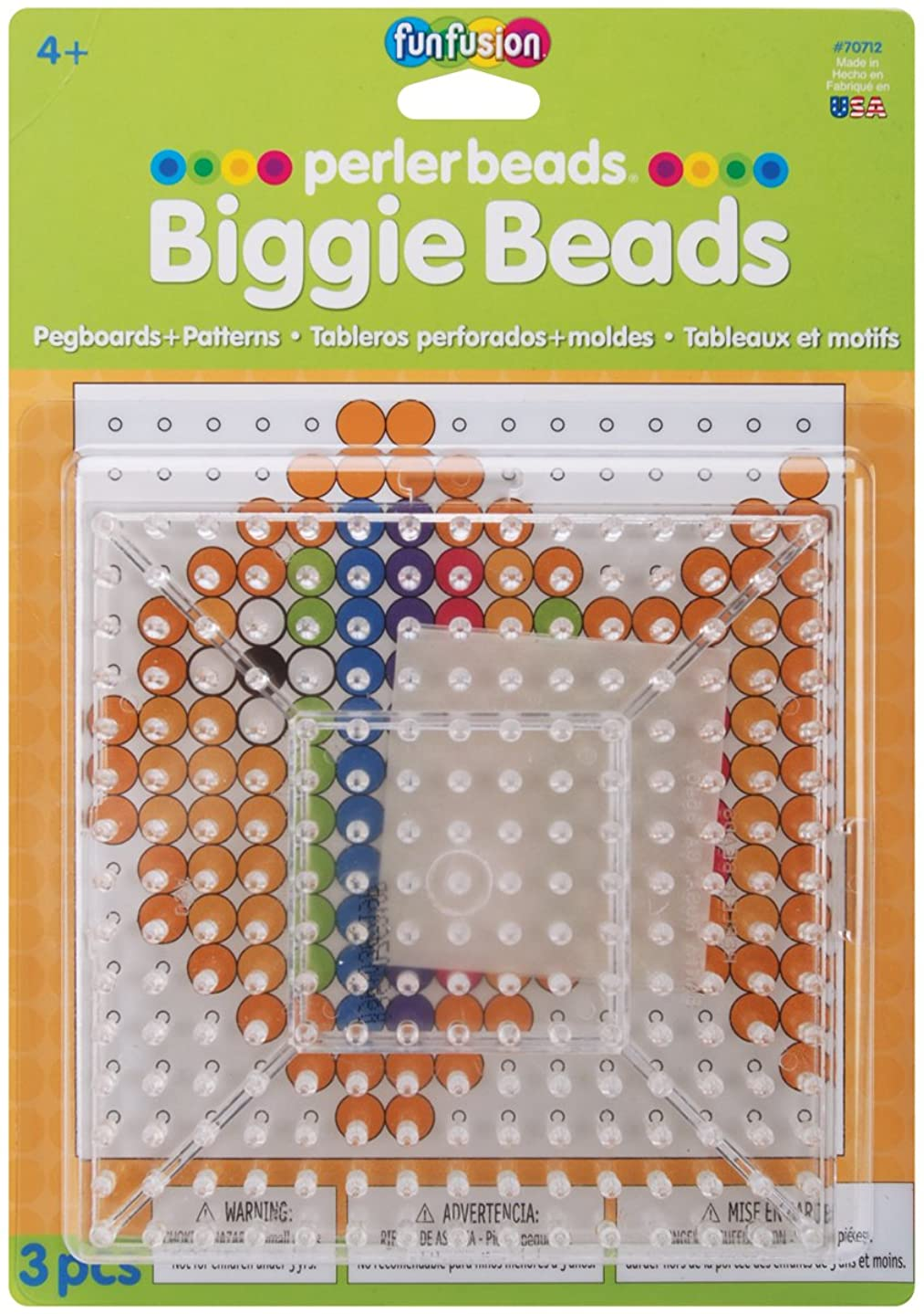 Perler Beads Biggie Beads Pegboards for Kids Crafts, 3 pcs