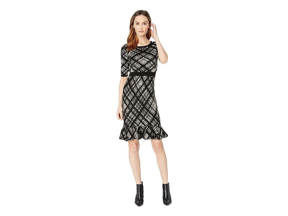 Taylor Plaid Print Flounce Skirt Sweater Dress (Black/Champagne) Women