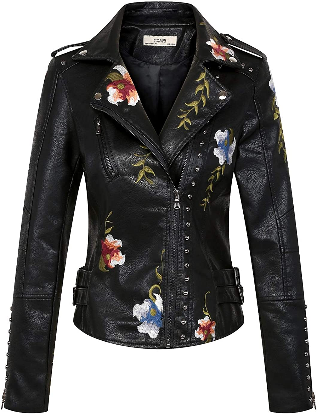 CHARTOU Women's Notched Collar Slim Sales for sale Ri Fit PU Embroidery Leather Manufacturer OFFicial shop