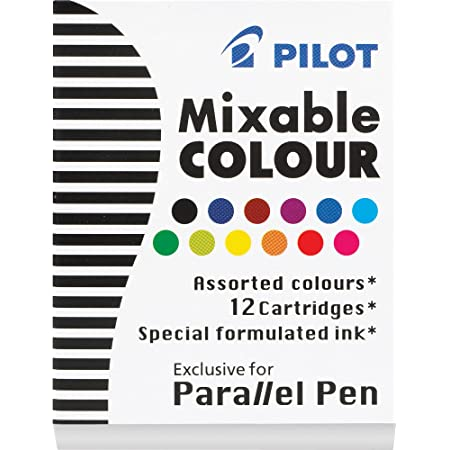 PILOT Parallel Mixable Color Ink Refills for Calligraphy Pens, 12 Colors, 12-Pack (77312), Assorted