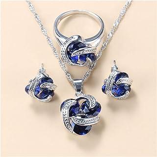 طقم مجوهرات للنساء أزياء الزفاف مجوهرات هدايا للنساء هدايا الذكرى السنوية له يانجين (اللون: أزرق 3 قطع، الحجم: 6)