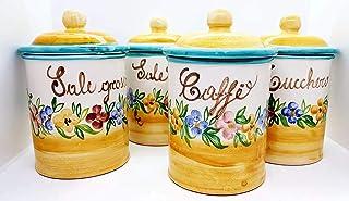 Set 4 Barattoli Sale fino Sale grosso Zucchero Caffé Linea Fiori Misti Ceramica Le Ceramiche del Castello Handmade Pezzi U...