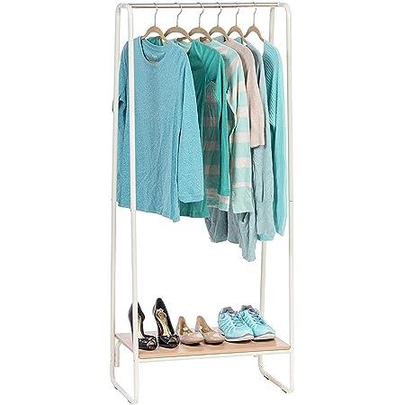 Iris Ohyama - Portant penderie à vêtements / Porte-manteaux avec étagère en bois MDF et métal - Garment Rack PI-B1 - Chêne clair et blanc, 64 x 40 x 150 cm