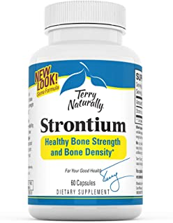 Terry Naturally Strontium - 680 mg, 60 Vegan Capsules - Essential Mineral Supplement, Supports Bone Strength & Density - N...