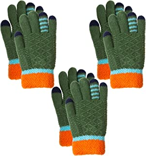 Classic Fashion (3 Pairs) Outdoor Knit Gloves for Kids 5-8 Children Winter Cold Weather Gloves