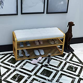 YCSD Linen Tufted Shoe Rack Wrought Iron Ottoman Storage Bench (Color : 04, Size : 60cm)