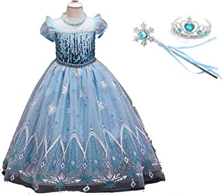 Yalla babY Costume for Kids Girls Tulle Dress Toddler Princess Maxi Gown 110-150 CM 3 pcs Set Dress Up Birthday Party Cosp...
