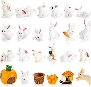 24 Pieces Easter Mini Bunny Figurines Cute Animal Rabbit Figure Rabbit Characters Cupcake Toppers Rabbit Miniature Figurin...