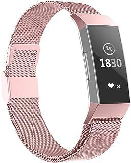 Adepoy para Correa Fitbit Charge 3/ Correa Fitbit Charge 4, Pulseras de Metal de Acero Inoxidable compatibles con Fitbit Charge 3 / Charge 4, pequeñas Grandes Mujeres Hombres