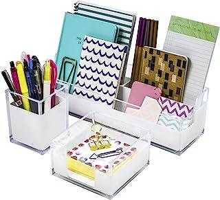Sorbus Acrylic Desk Organizers Set – 3-Piece, Includes Desk Organizer Caddy, Memo Tray and Pen Cup, Modern Desk Accessorie...