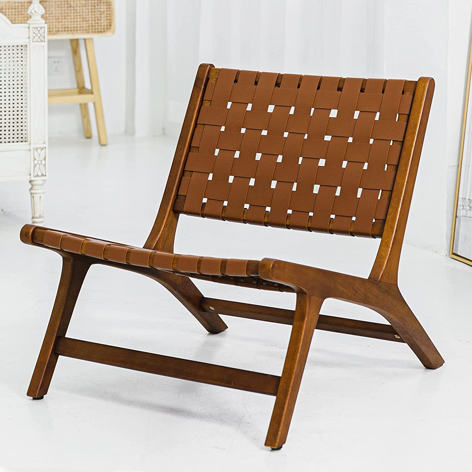Cognac Lounge Brown Leather Woven safety Indoor Mid Selling rankings Centur Chair Accent