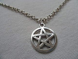 Pendentif /étoile de David avec pierre pr/écieuse blanche et bleue et collier en argent sterling 925.