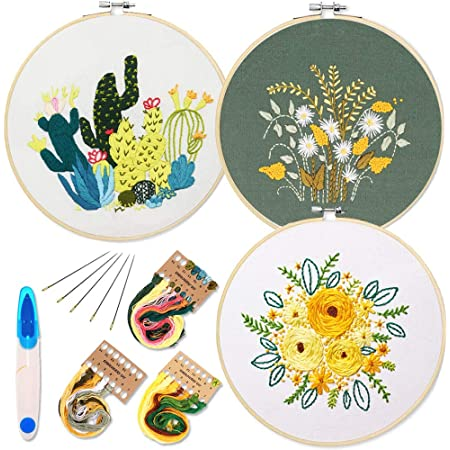 Embroidery Starter Kit with Pattern and Instructions, 3 Sets Cross Stitch Kit Include Embroidery Clothes with Plants Flowers Pattern, 1 Embroidery Hoops, Color Threads and Tools (Catus&Daisy)