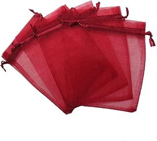 RakrisaSupplies 50Pcs Burgundy Organza Bags 8x12