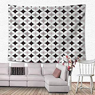 HouseLook Mid Century Wall Hanging Bedding Tapestry Retro Styled Atomic Composition with Vintage Diamond Line Pattern Decorations for Living Room 60