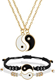 Set di Collana e Bracciale Yin Yang per Coppia o Amico, 2 Pezzi Bracciale Yin Yang Cordino Regolabile, 2 Pezzi Collana Yin...
