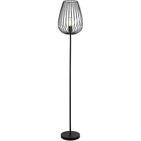 EGLO Lampadaire Newtown, Lampe Sur Pied à Flamme, Lampe de Sol en Acier, Couleur : Noir, Douille : E27, Interrupteur à Pied Inclus