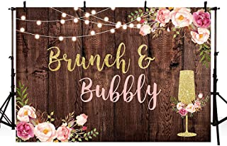 MEHOFOTO 7x5ft Brunch and Bubbly Bridal Shower Party Backdrop Studio Photography Rustic Brown Wood Glitter Lights Pink Floral Gold Champagne Background Rustic Wedding Banner Photo Booth
