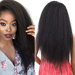 Kinky Straight Wig Heat Resistant Synthetic Long Hair Side Part Lace Front Wigs for Women 24inch (Yaki-Black7062)