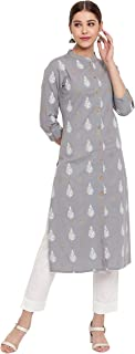 Janasya Indian Women's Grey Cotton Flex Kurta