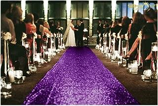 ShinyBeauty Aisle Runner Tape-Purple-4FTX15FT,Shimmer Sequin Fabric Wedding Floor Runner,Glitter Carpert Runner(Purple)
