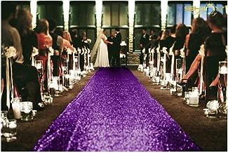 ShinyBeauty 4FTx30FT Aisle Runners for Weddings Sparkling Purple Aisle Runner Decoration of Beach/Church Wedding