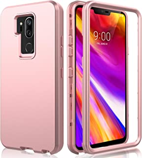 AMENQ LG G7 ThinQ Case, LG G7 Plus Case, 3 in 1 Heavy Duty Full Body Shockproof with Silicone Rubber Gel TPU Bumper and Scratch Resistant PC Armor Protective Cover for New LG 2018(Rose Gold)