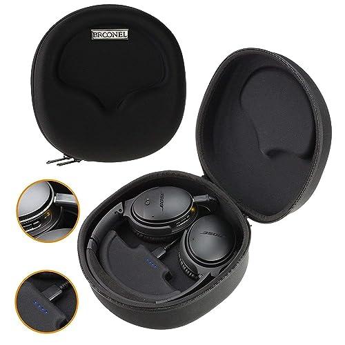 Navitech Broonel Noir Etui Housse Rigide De Rangement Compatible avec Casque Headphone et 2500mAh Power Bank Chargeur Compatible avec HBUDS Bluetooth Headset 4.1 Wireless Sport Audio Earphones H1