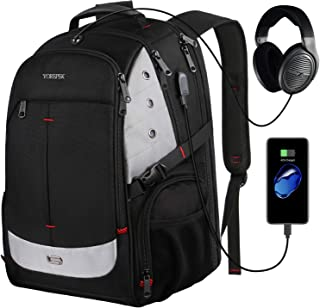 Large Backpack for Men,Laptop Backpack with USB Charging Port,TSA Friendly Travel Laptop Backpack College School Bookbag Water Resistant Business Computer Bag Fit 17inch Laptops,Black