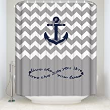 Crystal Emotion Infinity Live The Life You Love, Love The Life You Live.Gray and White Chevron Zig Zag Waterproof Bathroom Fabric Shower Curtain Bath Curtain 54x78inch Small Stall Size