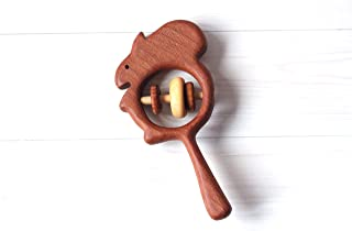 Baby Rattle Wooden squirrel, Teething toy, Wooden Rattle,Rattle for newborn, Rattle for baby,