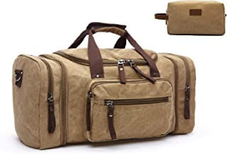 BARU Canvas Genuine Leather Duffel Bag for Travel Men & Women with Canvas Toiletry Bag, Tote Luggage Overnight Weekender Bag with Padded Shoulder Strap, Gym Bag - Khaki