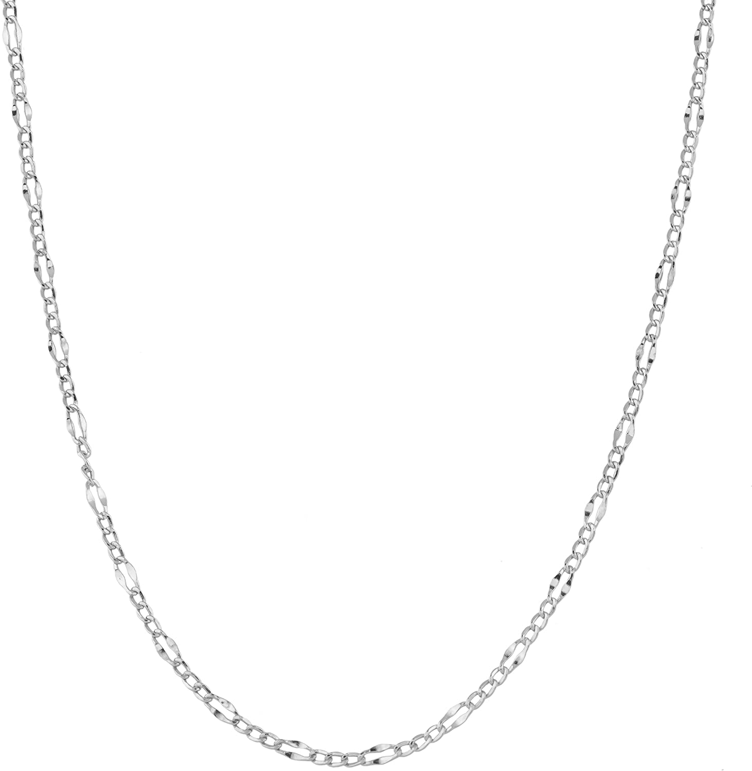 Kooljewelry 14k White Gold 2.3 mm Figaro Link Chain Necklace (16, 18, 20, 22, 24, 30 or 36 inch)