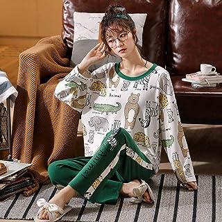 Cálidos Pijamas para Mujer,Algodón Blanco Ropa De Dormir De Manga Larga Jersey Suave Pantalones Verdes Acogedores Estampado Animal Ropa De Dormir De Navidad De Punto Ropa De Hogar Ropa De Mujer Co