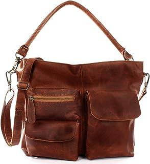 LECONI Schultertasche Ledertasche für Damen Vintage-Look echtes Leder Natur großer Shopper Lederhandtasche für DIN A4 Damentasche Frauen Handtasche 41x32x10cm LE0039