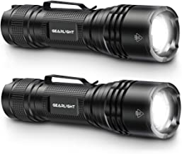 GearLight TAC LED Tactical Flashlight [2 PACK] - Single Mode, High Lumen, Zoomable, Water Resistant, Flash Light - Camping...