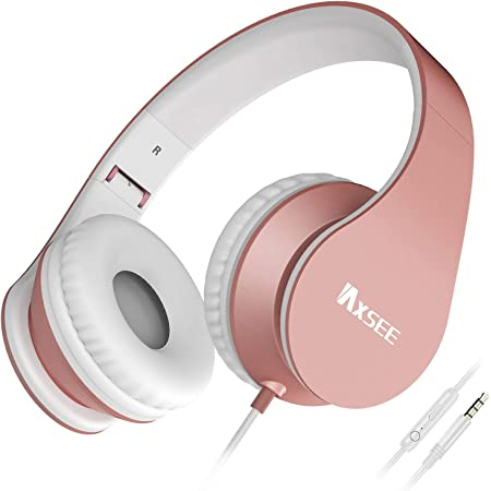 IAXSEE I70 Headphones with Microphone and Volume Control Portable for Girls Stereo Lightweight Adjustable Headsets for iPad iPod Android Smartphones Laptop Mp3(Rose Gold)