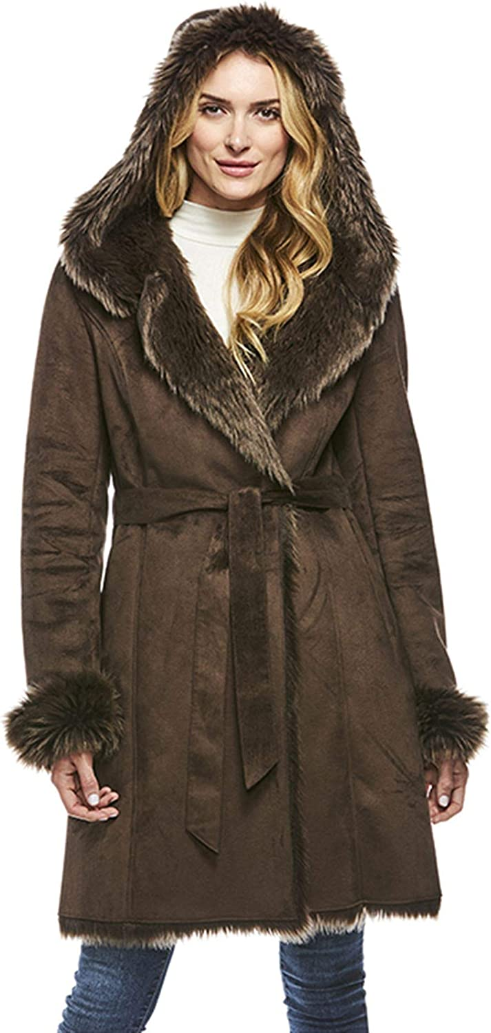 Espresso Hooded Faux Suede & Faux Fur Belted Coat