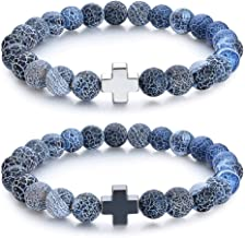 Wanmei 8mm Natural Energy Healing Stone Bracelets Sets for Friendship His & Hers, Stainless Steel Cross Strong Elastic Distance Couple Bracelets