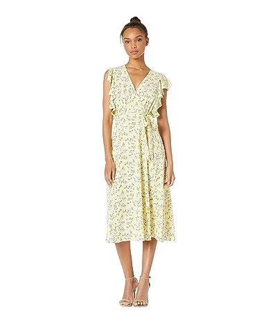 1.STATE Blossom Cluster Flounce Sleeve Wrap Dress (Honey Suckle) Women
