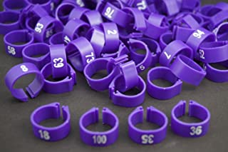 ( Pack of 100 Pcs ) ,(14mm) Bird Leg Bands Pigeon Chicks Duck Goose Parrot Bantam Poultry Pet Rings ,1-100 Numbered,Purple