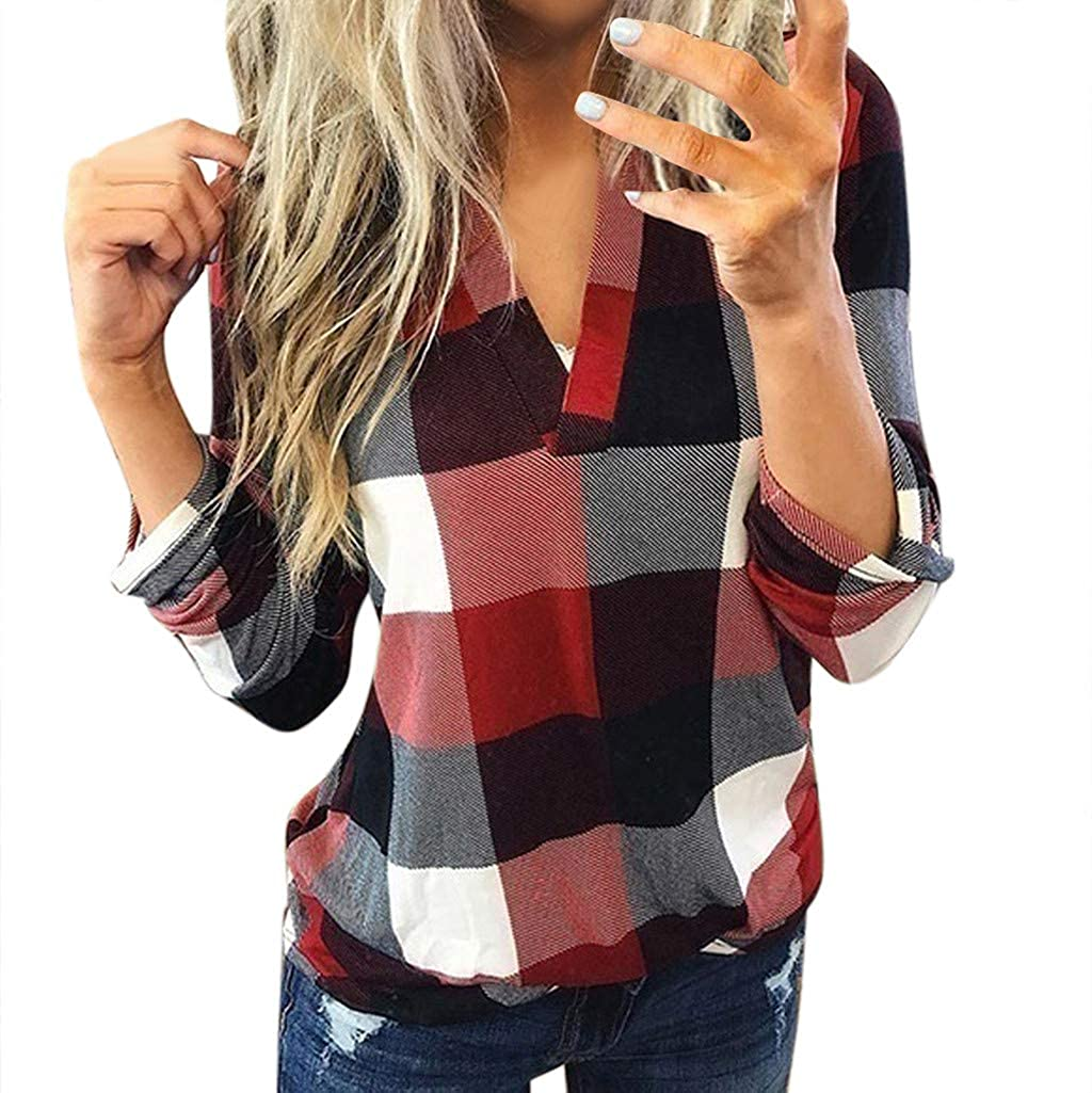 FUNEY Women Long Sleeve Flannel Discount is also underway Plaid Sexy Pullover favorite Neck Shirt V